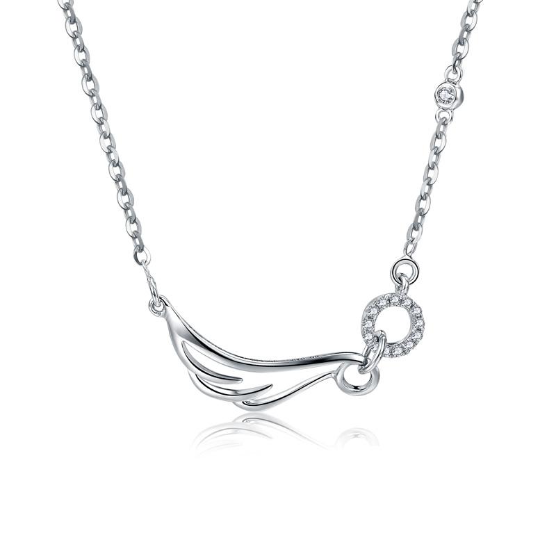 天使之翼 白18K金钻石套链 时尚饰品 钻饰