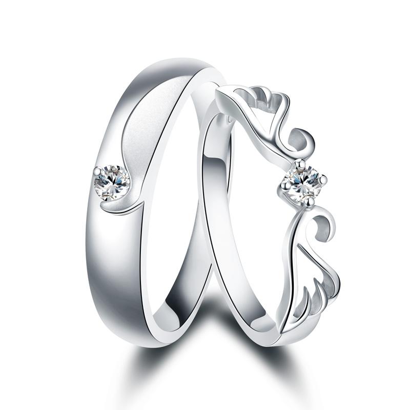 天使之翼 白18K金钻石女戒 结婚钻戒