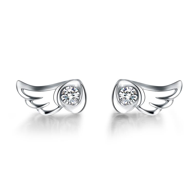 天使之翼 白18K金秀美耳钉 时尚饰品 钻饰
