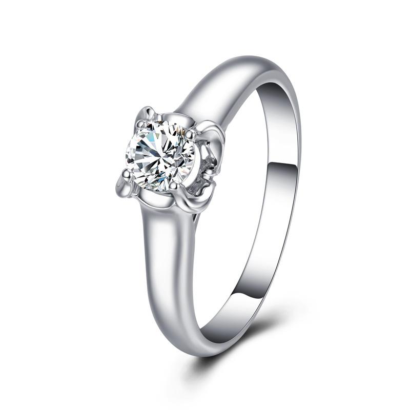 珍惜之翼 白18K金钻石女戒 结婚钻戒