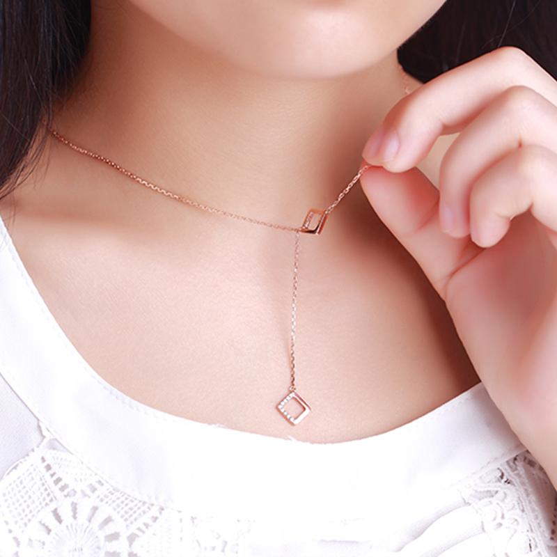 大气方形 18K玫瑰金钻石套链